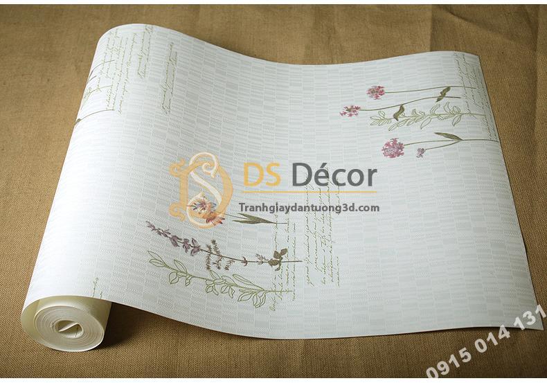 Bề mặt Giấy dán tường vườn hoa màu trắng và chữ 3D155