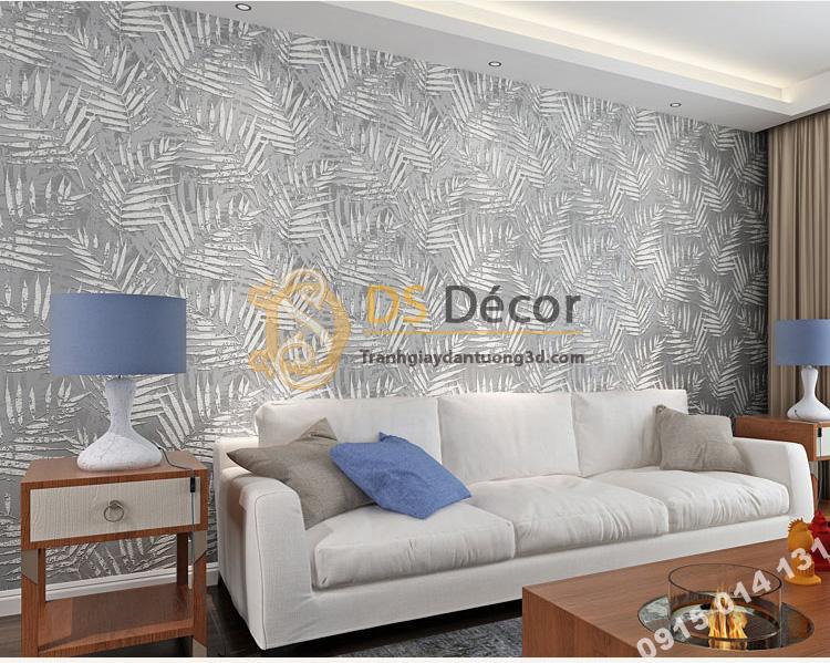 Giấy dán tường lá cọ màu trắng 3D160 phòng khách