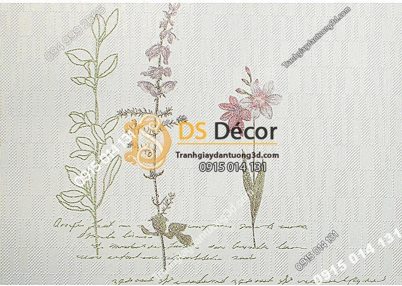 Giấy dán tường vườn hoa màu trắng và chữ 3D155