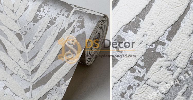 Giấy dán tường lá cọ màu trắng 3D160