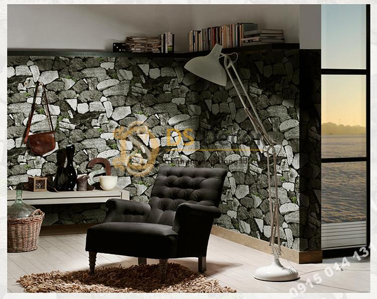 Giấy dán tường giả tường đá trắng đen cổ 3D154 phòng khách