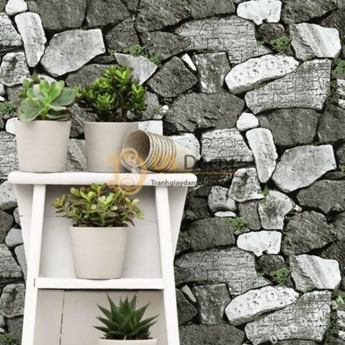 Giấy dán tường giả tường đá trắng đen cổ 3D154