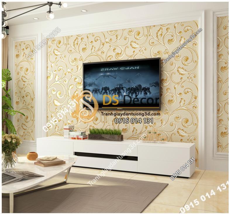 Giấy dán tường lá sen móc hoa 3D150 màu vàng