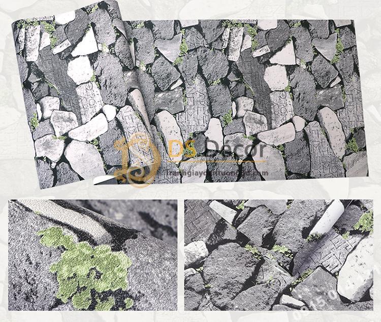 Bề mặt Giấy dán tường giả tường đá xám đen cổ 3D154