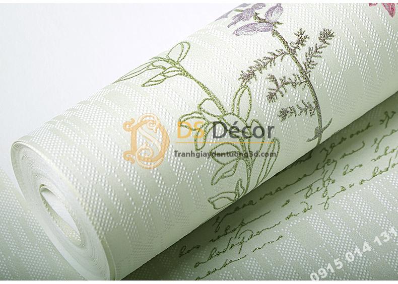 Bề mặt Giấy dán tường vườn hoa màu xanh và chữ 3D155