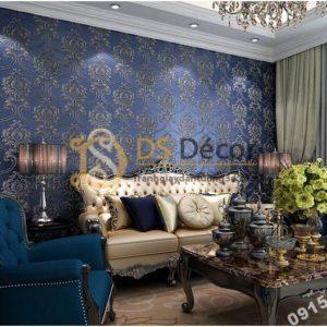 Giấy dán tường họa tiết tân cổ điển 3D148 - màu xanh