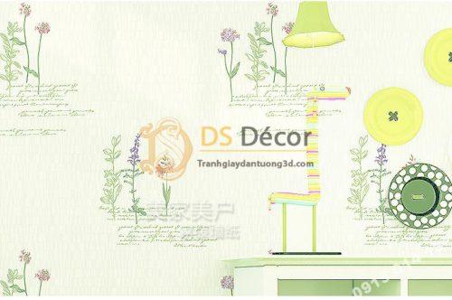 Giấy dán tường vườn hoa màu xanh và chữ 3D155