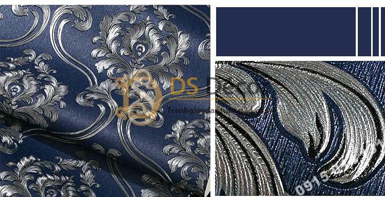 Giấy dán tường họa tiết tân cổ điển 3D148 - màu xanh 1