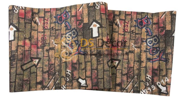 Bề mặt giấy dán tường kiểu Graffiti hip hop 3d168-501