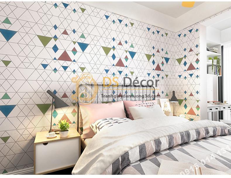 Giấy dán tường tam giác hiện đại có màu 3D152