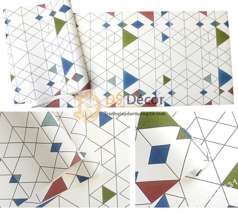 Bề mặt Giấy dán tường tam giác hiện đại có màu 3D152