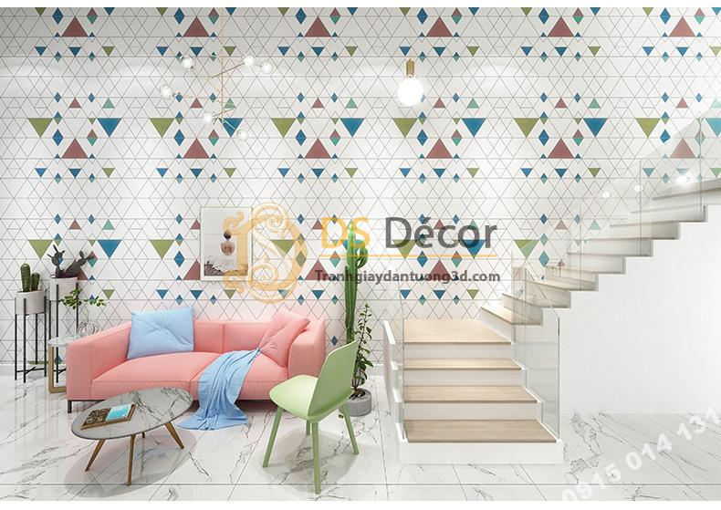 Phòng khách với Giấy dán tường tam giác hiện đại có màu 3D152