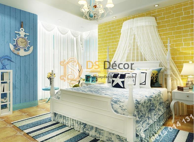 Giấy dán tường giả gạch vàng trang trí phòng ngủ