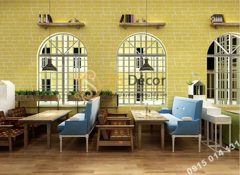 Giấy dán tường giả gạch vàng 3D cho quán ăn