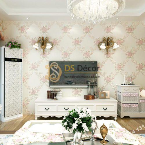Giấy dán tường phòng khác countryside 3D149 màu hồng