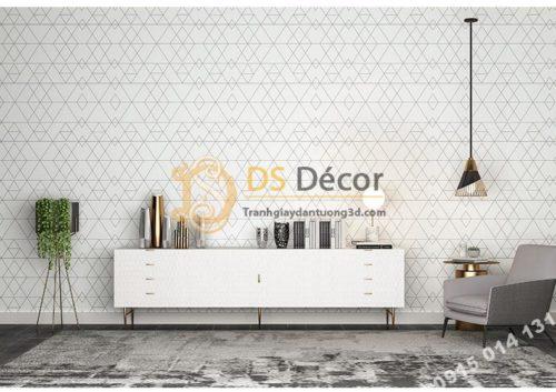 Phòng khách với Giấy dán tường tam giác hiện đại trắng đen 3D152