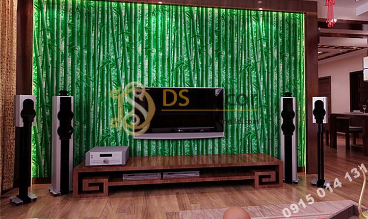 Giấy dán tường rừng tre xanh 3D159 sau tivi
