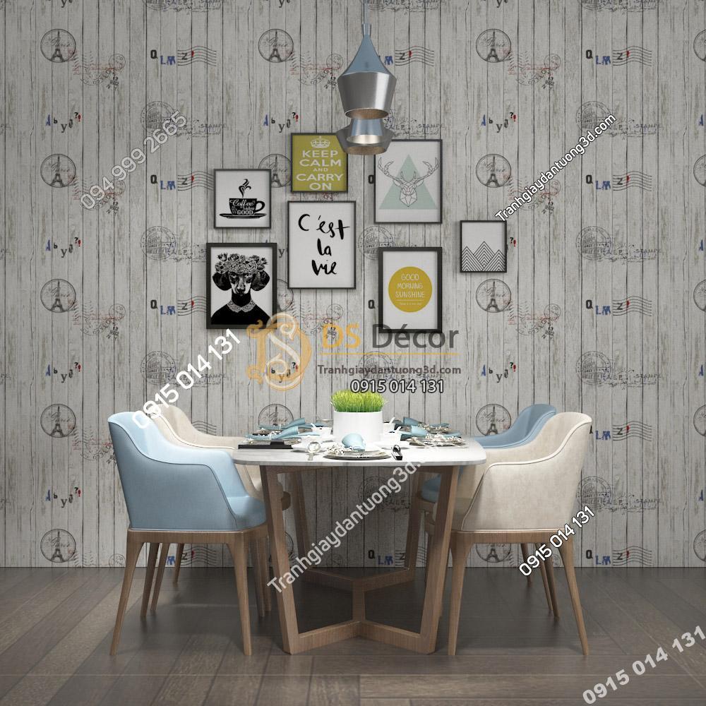 Giấy dán tường Hàn Quốc NATURAL giả gỗ 87004-1 xám dán phòng ăn