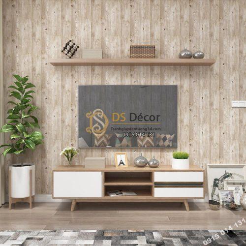 Giấy dán tường Hàn Quốc NATURAL giả gỗ 87005-2 nâu nhạt dán phòng khách