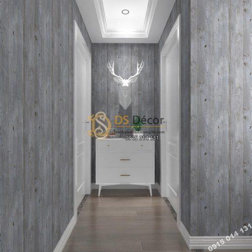 Giấy dán tường Hàn Quốc NATURAL giả gỗ 87005-3 xám ghi dán hành lang