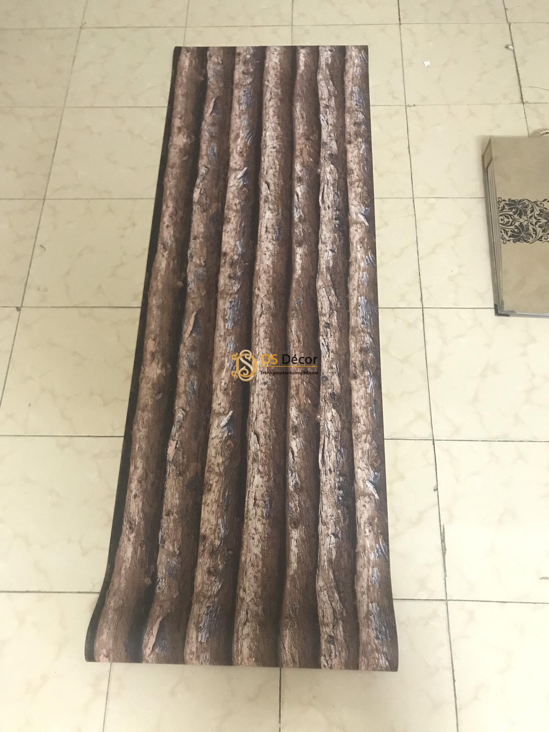 Bề mặt Giấy dán tường giả thân gỗ dọc nâu 3D198