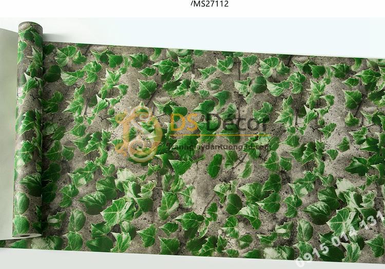 Bề mặt giấy dán tường 3D giả lá cây retro cho nhà hàng quán ăn nhanh 3D206-112