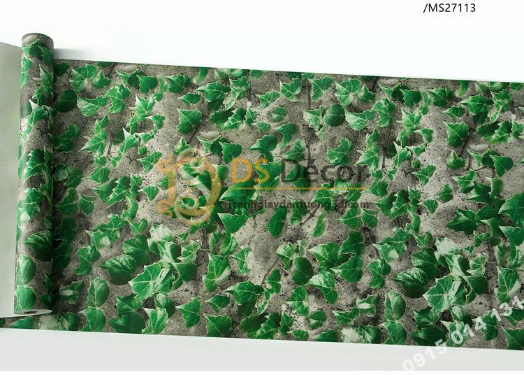 Bề mặt giấy dán tường 3D giả lá cây retro cho nhà hàng quán ăn nhanh 3D206-113