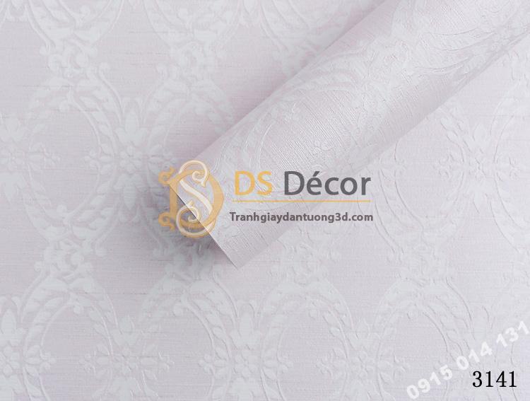 Bề mặt giấy dán tường hàn quốc hoa cổ điển 3DH05 màu hồng