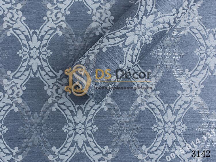 Bề mặt giấy dán tường hàn quốc hoa cổ điển 3DH05 màu xanh đậm
