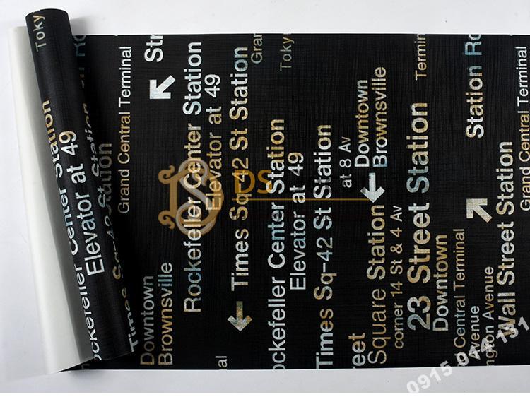Bề mặt Giấy dán tường chữ cái Phong cách retro 3D207 màu đen