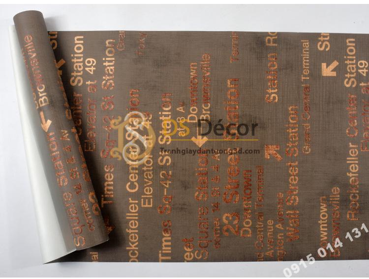Bề mặt Giấy dán tường chữ cái Phong cách retro 3D207 màu nâu