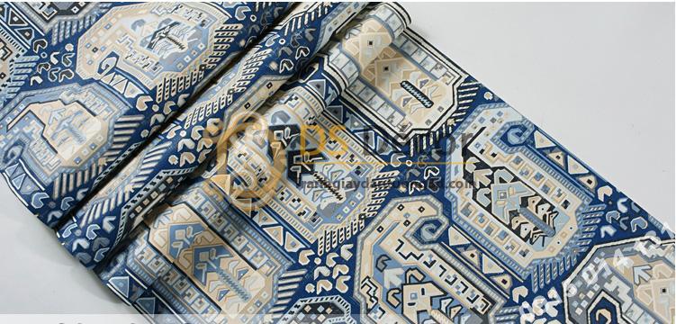 Bề mặt giấy dán tường giả gạch Bohemian Tây Tạng độc đáo 3D208 màu xanh đậm