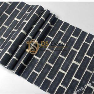 Bề mặt giấy dán tường giả gạch đen 3D191