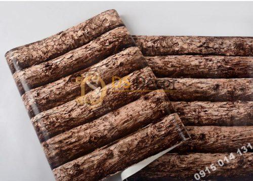 Bề mặt giấy dán tường giả thân gỗ nâu 3D198