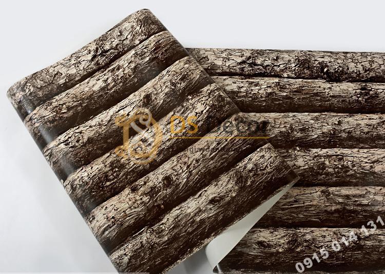 Bề mặt giấy dán tường giả thân gỗ đen 3D198