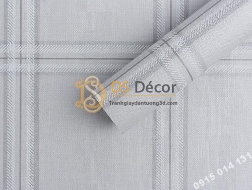 Bề mặt giấy dán tường hàn quốc caro ô vuông 3DH03 màu trắng