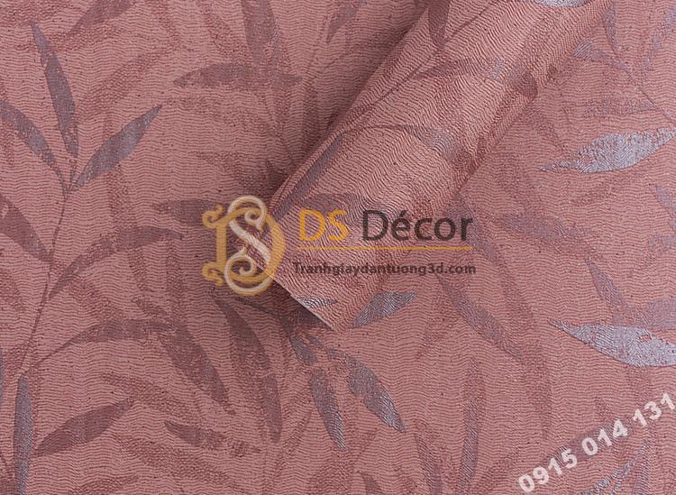 Bề mặt giấy dán tường hàn quốc họa tiết lá liễu 3DH06 màu đỏ
