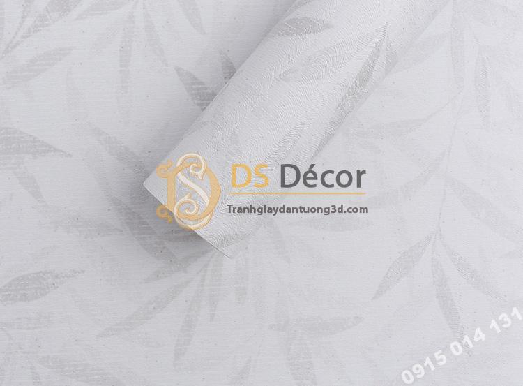 Bề mặt giấy dán tường hàn quốc họa tiết lá liễu 3DH06 màu trắng