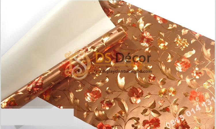 Bề mặt Giấy dán từng hoa ánh kim cho tiệm váy cưới 3D203 màu nâu 153