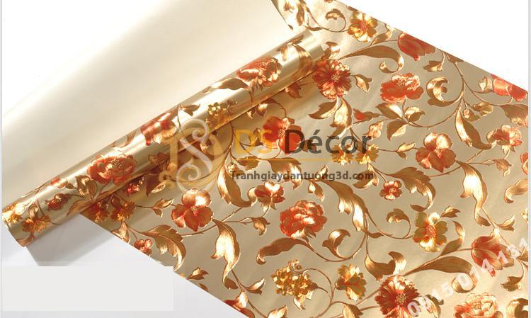 Bề mặt Giấy dán từng hoa ánh kim cho tiệm váy cưới 3D203 màu nâu nhạt 152