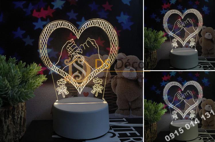 Đèn led 3d trang trí quà tặng độc đáo DTT11 - trái tim
