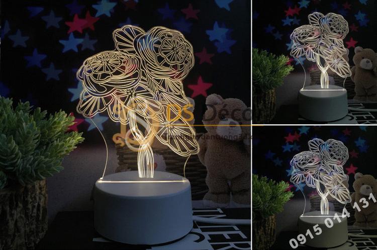 Đèn led 3d trang trí quà tặng độc đáo DTT11 - hoa