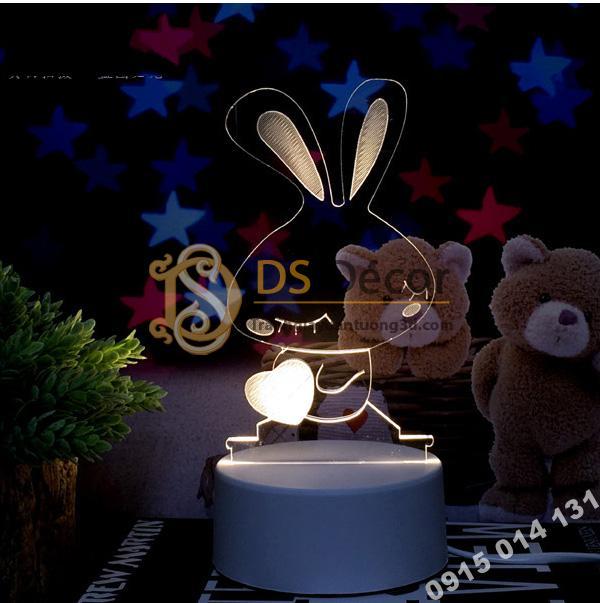 Đèn led 3d trang trí quà tặng độc đáo DTT11 - thỏ