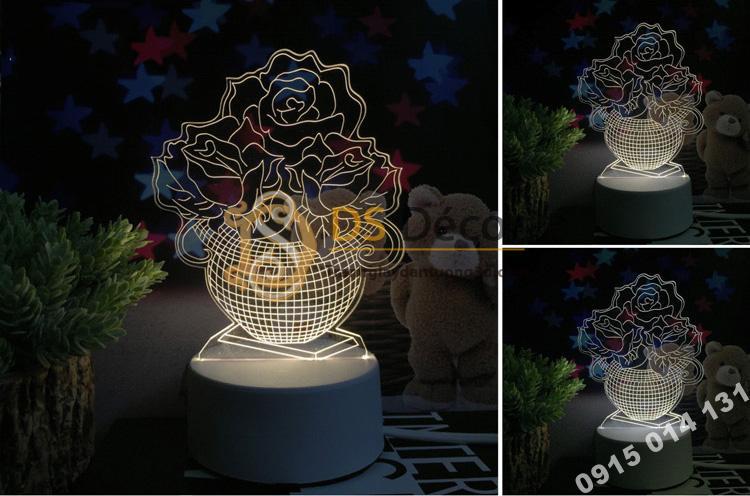 Đèn led 3d trang trí quà tặng độc đáo DTT11 - chậu hoa
