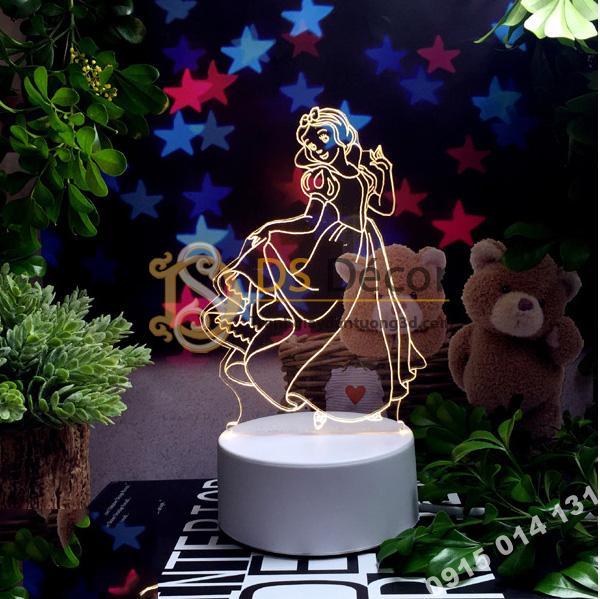 Đèn led 3d trang trí quà tặng độc đáo DTT11 - công chúa