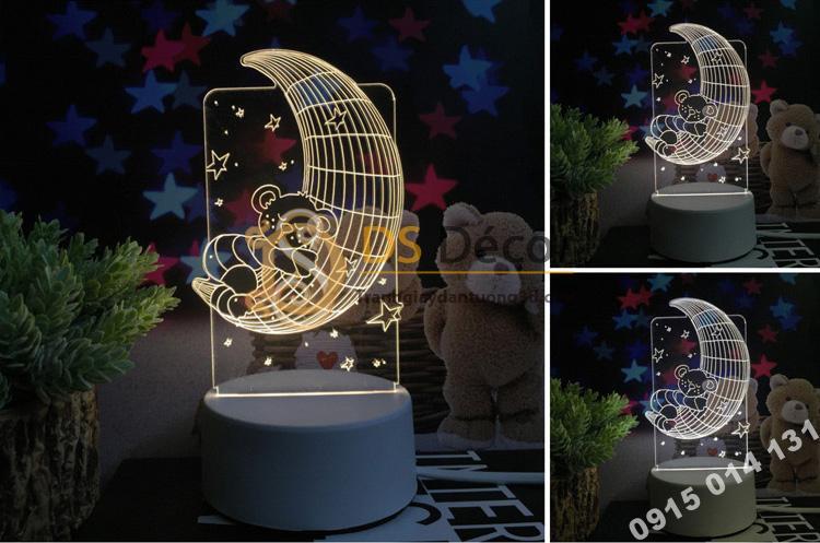 Đèn led 3d trang trí quà tặng độc đáo DTT11 - gấu ôm trăng