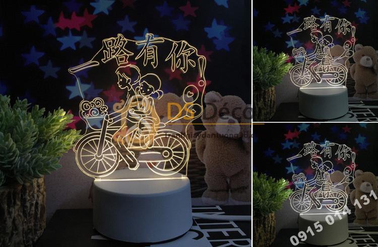 Đèn led 3d trang trí quà tặng độc đáo DTT11 - xe đạp