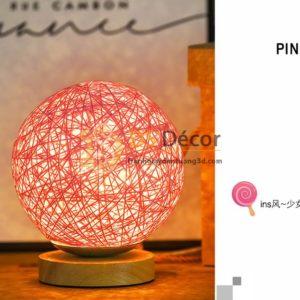 Đèn tròn cầu mây phát sáng 360 độ lãng mạn DPS2 hồng