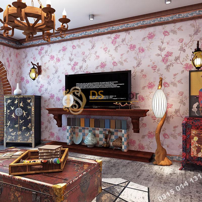 Giấy Dán Tường Hoa Hồng Continental Damascus 3D193 màu hồng trang trí phòng khách