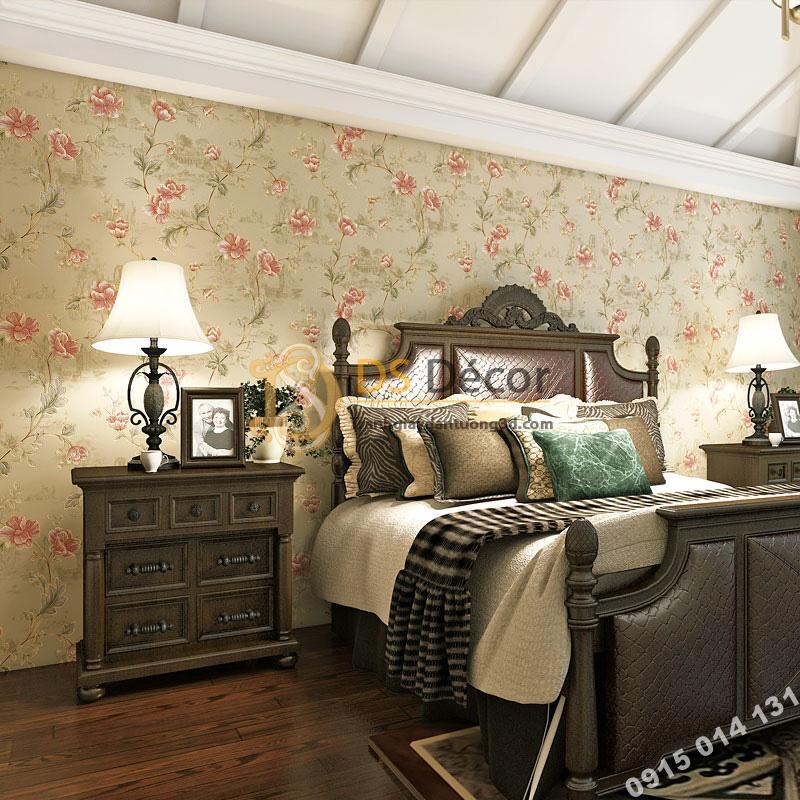 Giấy Dán Tường Hoa Hồng Continental Damascus 3D193 màu be trang trí phòng ngủ